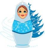 Schneemaid und Weihnachtstannenbaum Stockbild