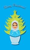 Schneemaid und Weihnachtstannenbaum. Postkarte Stockfotos