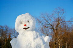Schneemann auf einem Hintergrund des blauen Himmels Stockfoto