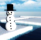 Schneemann auf unterbrochenem Eis Stockfotos