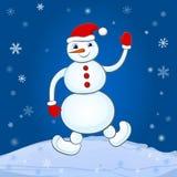 Schneemann auf Winterhintergrund Stockbilder