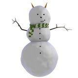 Schneemann 3D mit Karotten als Hörnern (oder Ohren) und grünem und weißem gestreiftem Schal Stockfotografie