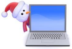 Schneemann 3d Sankt lugt ringsum einen Laptop-PC Lizenzfreie Stockfotografie