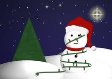 Schneemann in den Weihnachtsleuchten Stockbild