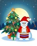 Schneemann, der die Trommeln tragen Santa Claus Costume With Christmas Tree und einen Vollmond am Nachthintergrund für Ihren Desi Lizenzfreies Stockfoto