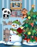 Schneemann, der eine grüne Hauptabdeckung und einen Schal spielen Saxophon mit Weihnachtsbaum und Feuerplatz Vektor-Illustration  Stockbilder