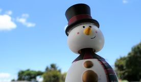 Schneemann, der einen Sommerweihnachtsfeiertag hat Stockbilder