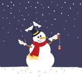 Schneemann der frohen Weihnachten lizenzfreie abbildung
