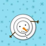 Schneemann, der oben schaut Weihnachtswinterplakat frohe Weihnachten lizenzfreie abbildung