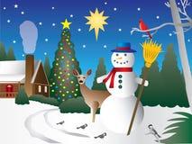 Schneemann in der Weihnachtsszene stock abbildung