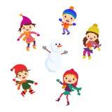 Schneemann des kleinen Mädchens des Winters, Weihnachtsjungenschnee vektor abbildung