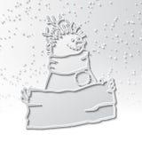 Schneemann des Schattens 3d mit einem Haarschnitt von Zweigen mit einem Zeichen in seinen Händen Lizenzfreies Stockbild