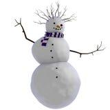 Schneemann des Tanzens 3D mit purpurroten und weißen gestreiften Schal und den Zweigen für Afrohaarschnitt Lizenzfreies Stockfoto