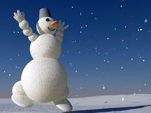 Schneemann glücklich mit Schnee Lizenzfreies Stockfoto