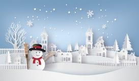 Schneemann im Dorf stock abbildung