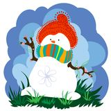 Schneemann im Frühjahr mit Wolken Vektor Abbildung