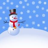 Schneemann im Schnee gegen den blauen Himmel mit Schneeflocken Vektor Stockbilder