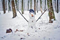 Schneemann im Wald Stockfoto
