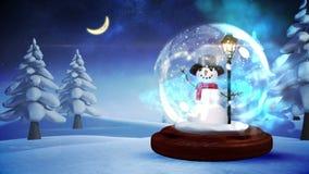 Schneemann innerhalb der Schneekugel mit magischen Lichtern lizenzfreie abbildung