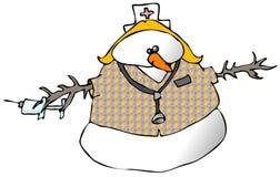 Schneemann-Krankenschwester stock abbildung