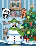 Schneemann mit dem Schnurrbart, der grüne Hauptabdeckung und grünen Schal mit Weihnachtsbaum und Feuerplatz Vektor-Illustration t Stockbilder