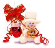 Schneemann mit einem Spielzeug stockbilder