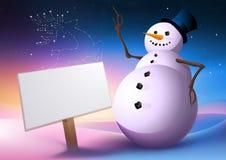 Schneemann mit einem Zeichen-Pfosten Stockfoto