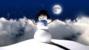 Schneemann mit Mondnächtlichem himmel