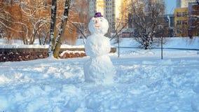 Schneemann mit purpurrotem Hut Stockbild