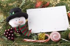 Schneemann mit unbelegter Weihnachtskarte Stockbild