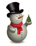 Schneemann mit Weihnachtsbaum. Vektor. Stockfoto
