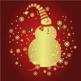Schneemann mit Weihnachtshintergrund und Grußkartenvektor vektor abbildung