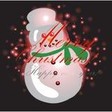 Schneemann mit Weihnachtshintergrund und Grußkartenvektor lizenzfreie abbildung