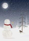 Schneemann mit Weihnachtsstern Stockbild