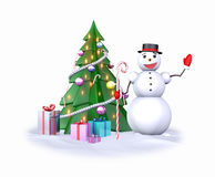 Schneemann nahe dem Weihnachtsbaum Stockbild