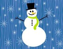 Schneemann-Schneeflocken auf Blau lizenzfreie abbildung