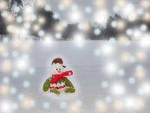 Schneemann sitzt auf dem Schnee Schneemann hat grünes, rotes ANG-wh Lizenzfreie Stockfotos