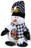Schneemann-Spielzeug mit Süßigkeiten Lizenzfreies Stockfoto