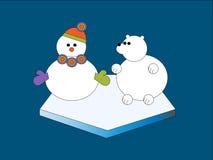 Schneemann und Eisbär Stockbild