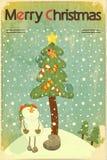 Schneemann und großer Weihnachtsbaum stockbilder