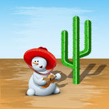 Schneemann und Kaktus Lizenzfreies Stockfoto