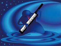 Schneemann und Klavier Stockfotos