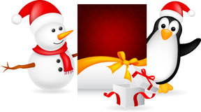 Schneemann und Pinguin mit Weihnachtskarte lizenzfreie abbildung