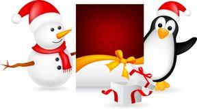 Schneemann und Pinguin mit Weihnachtskarte vektor abbildung