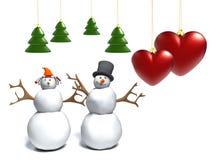 Schneemann und Schneefrau mit einem Inneren Stockfoto