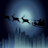 Schneemann und Vollmond mit Weihnachtshintergrund und Grußkartenvektor stock abbildung