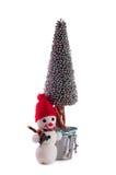 Schneemann und Weihnachten-Baum Stockbild