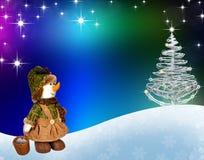 Schneemann- und Weihnachtsbaum Stockfotografie