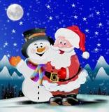 Schneemann und Weihnachtsmann Stockbilder