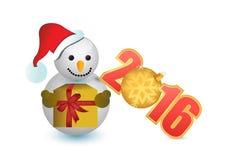 Schneemann 2016 und Weihnachtsverzierung Stockbild